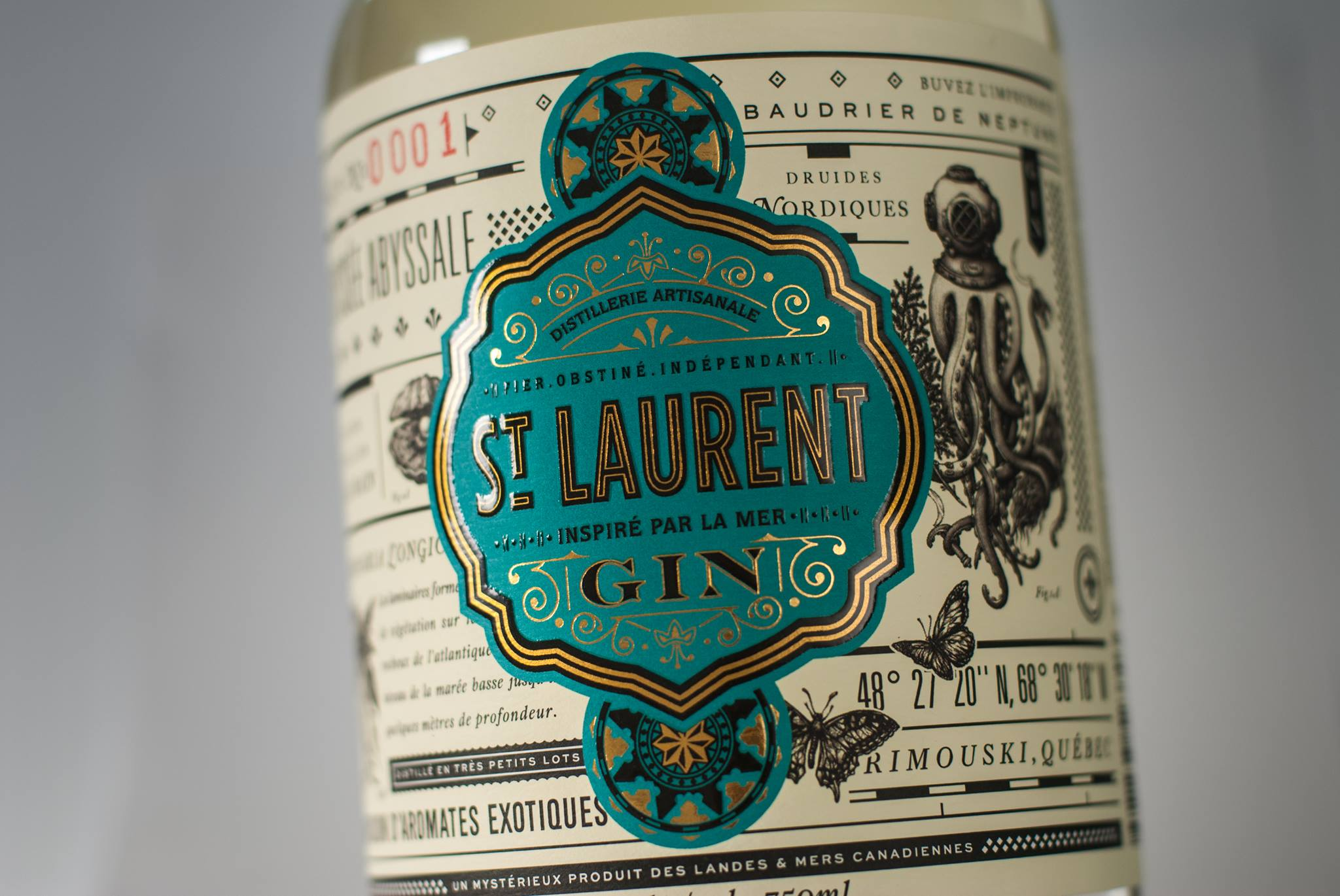 Bottle of gin from St-Laurent's Gin